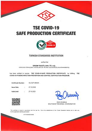 TSE COVID-19 SAFE PRODUCTION CERTIFICATE