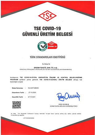 TSE COVID-19 GÜVENLİ ÜRETİM BELGESİ